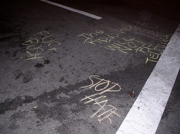 The chalk message...