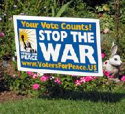 Vote Peace lawn signs now available!