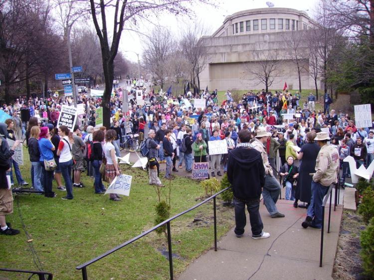 Rally on the steps o...