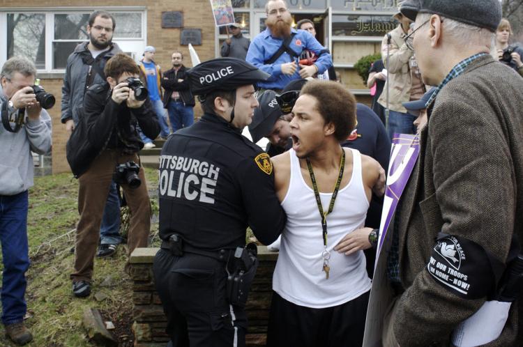 Being arrested...