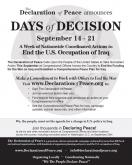 """Days of Decision"" – September 14 – 21 – A call for Nonviolent Direct Actions"